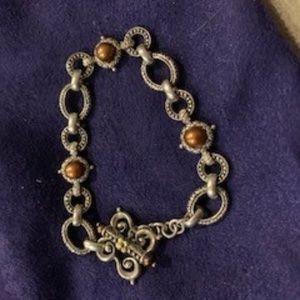 Barbara Bixby Pearl, Gold, SSilver Link Bracelet
